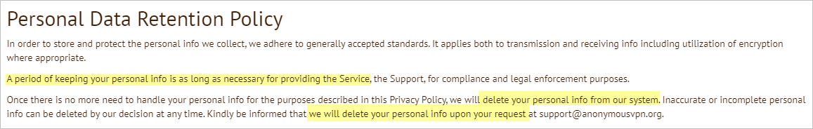 AnonymousVPN privacy policy with data retention