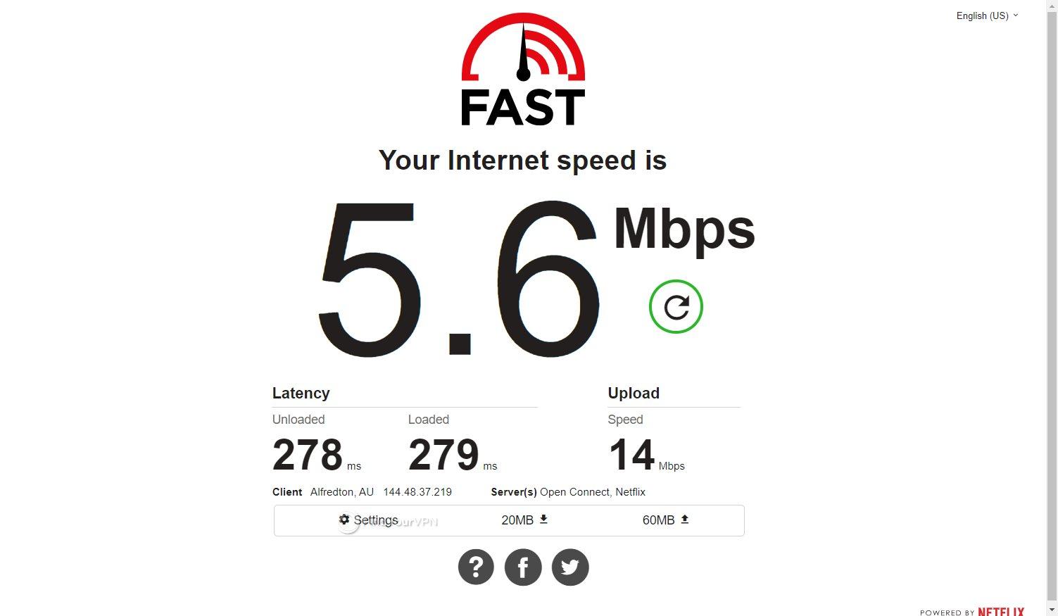 VPNArea Australia speed