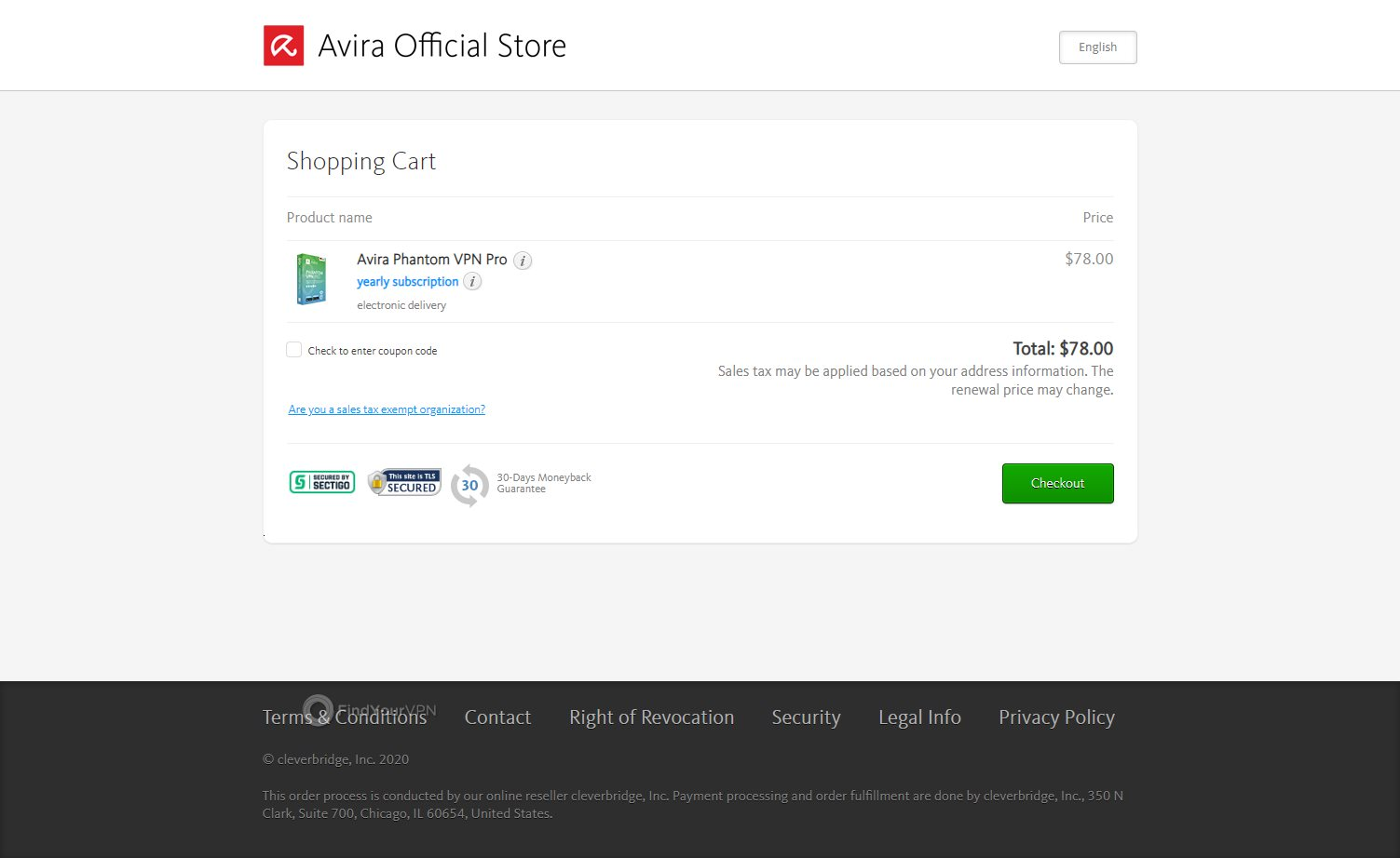 The checkout cart of Avira Phantom VPN