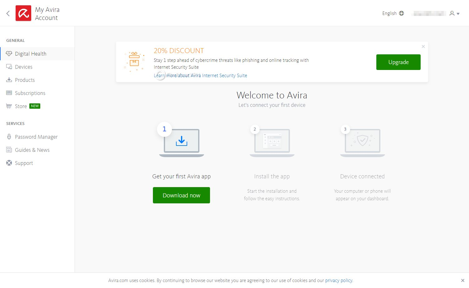 Log into your Avira Phantom VPN account