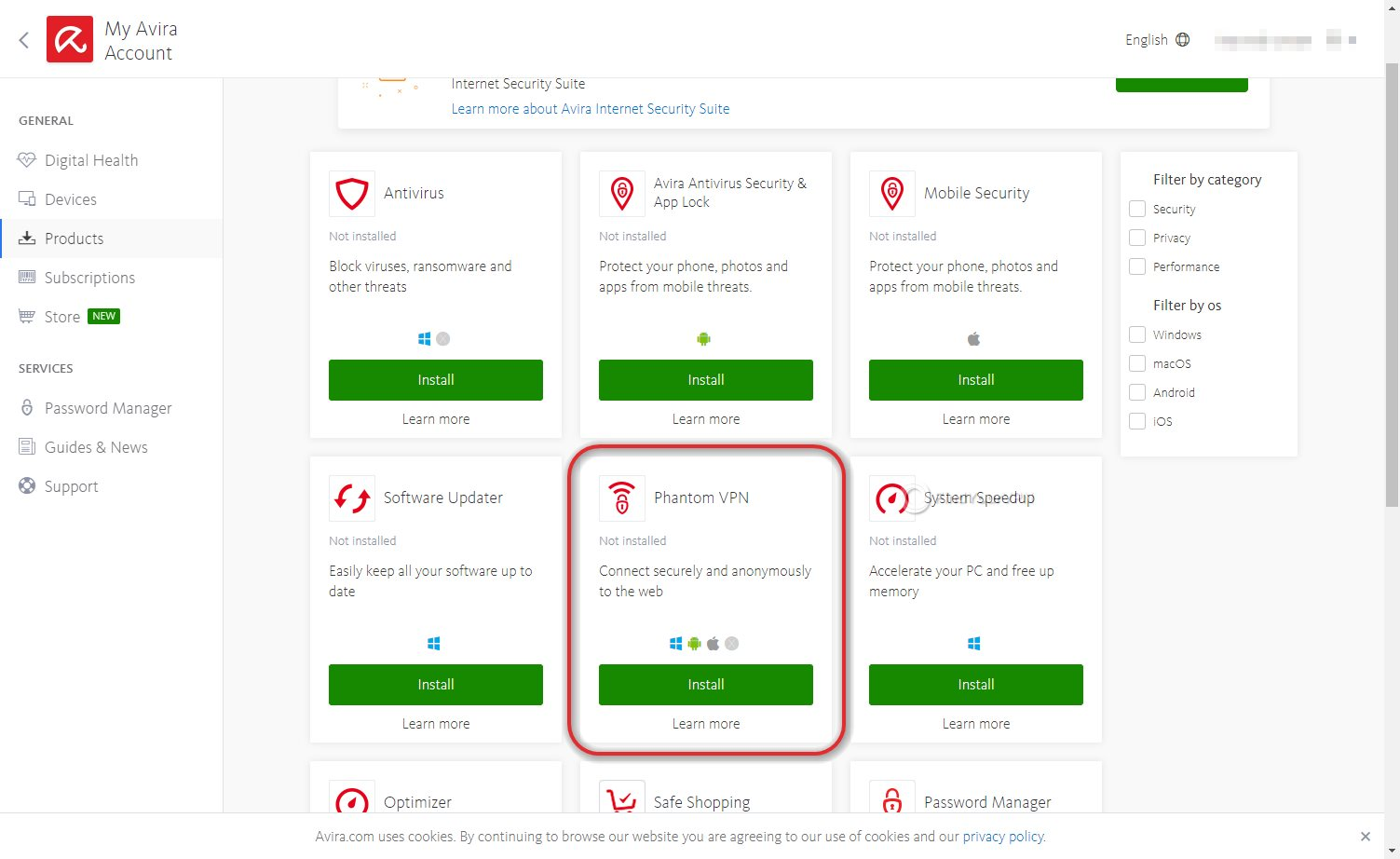 Downloading the Avira Phantom VPN Windows app