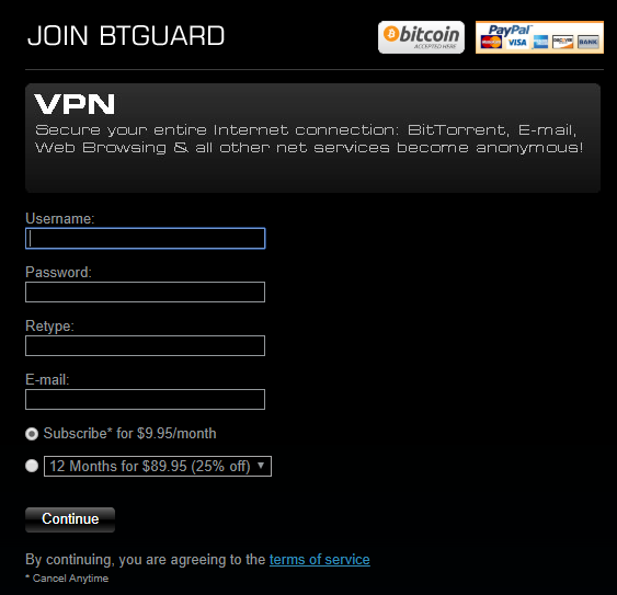 The BTGuard sign up page