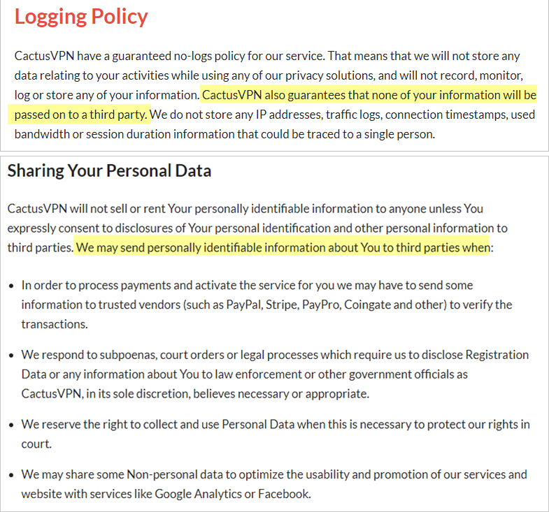 CactusVPN privacy policy with data sharing