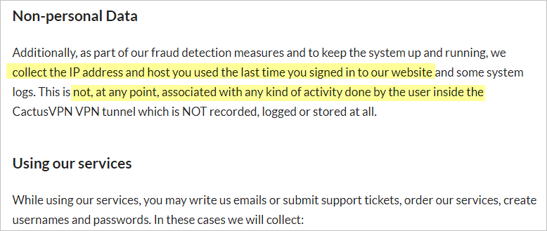 CactusVPN privacy policy with non-personal data