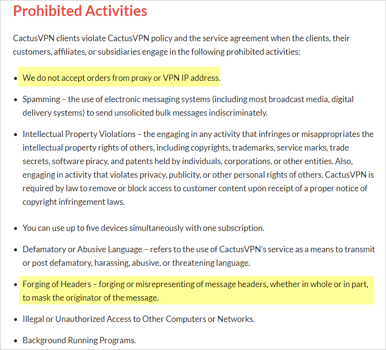 CactusVPN privacy policy with prohibited activities