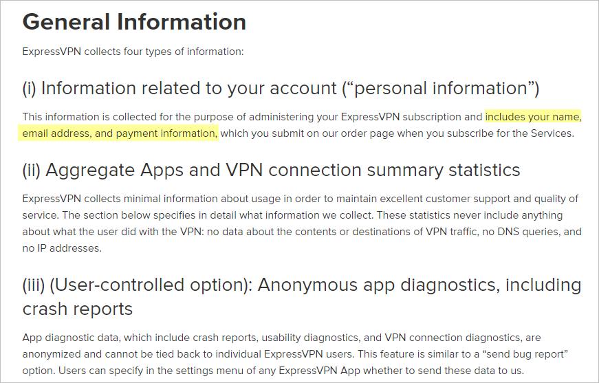 ExpressVPN privacy policy
