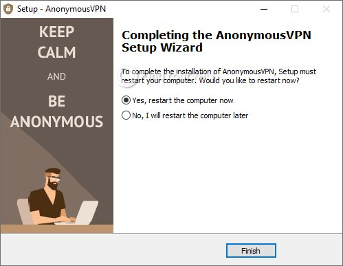 Restart now or later AnonymousVPN