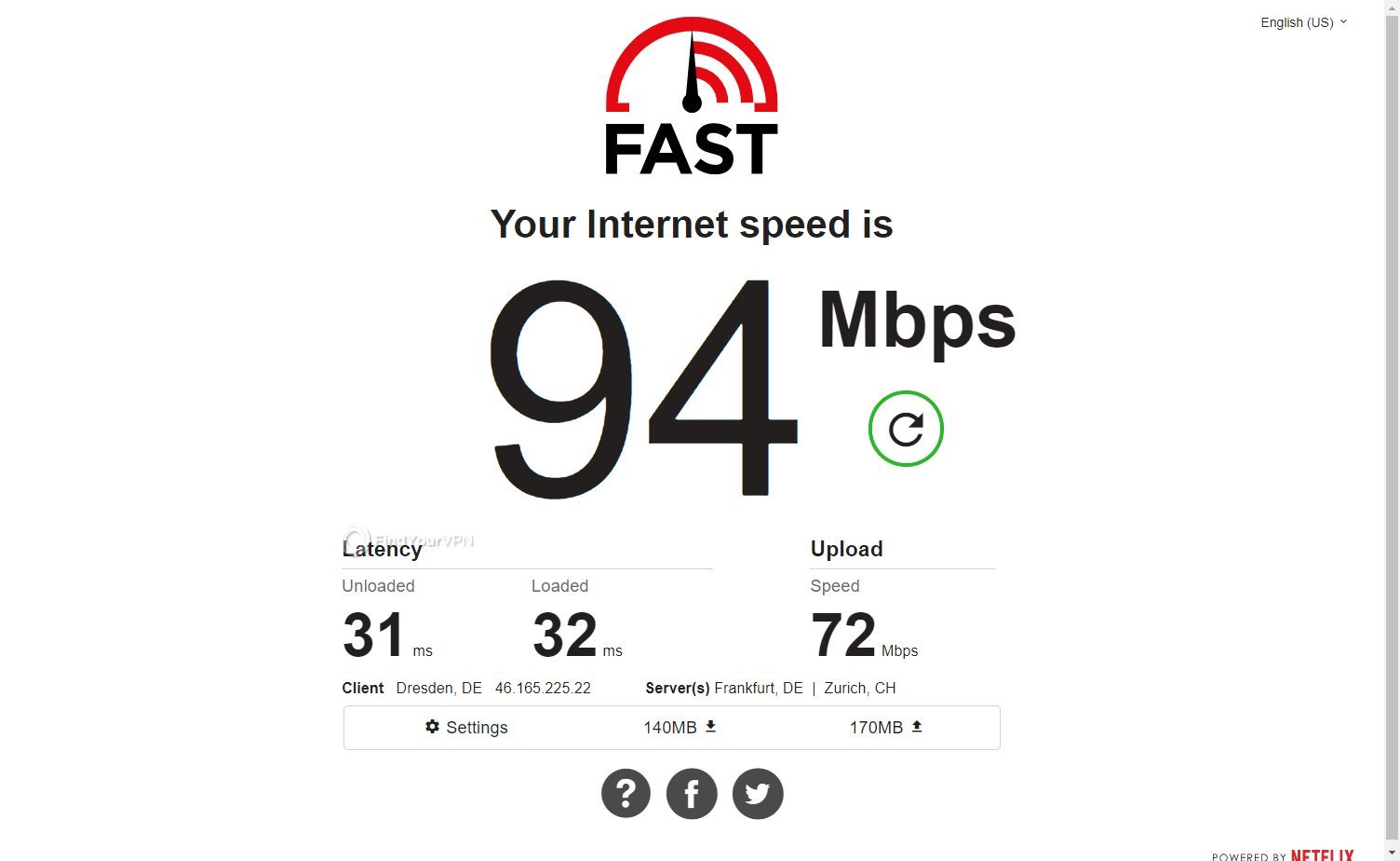 Avira Phantom VPN Speed Test Germany