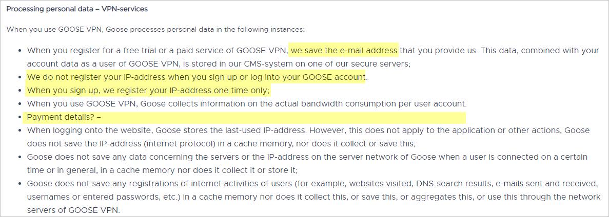 Goose VPN privacy policy