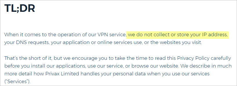 HideMyAss! VPN privacy policy with IP address
