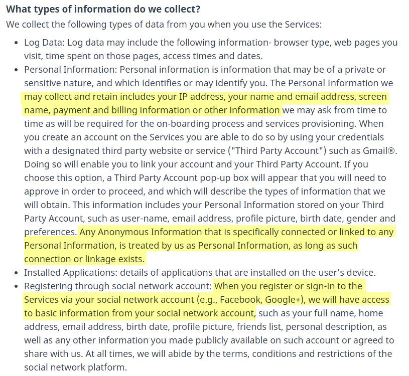 Hola VPN privacy policy