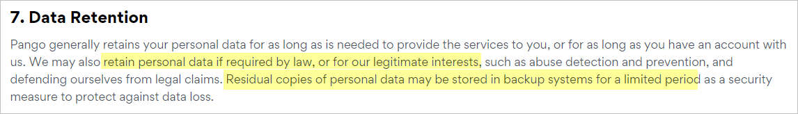 Hotspot Shield privacy policy with data retention