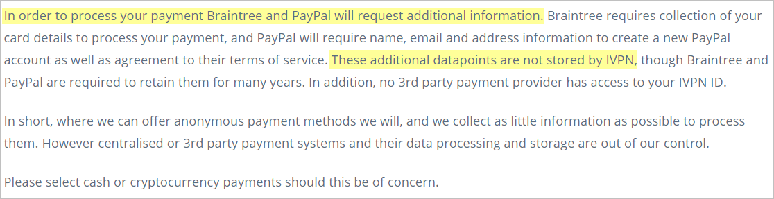 IVPN privacy policy with payment processors