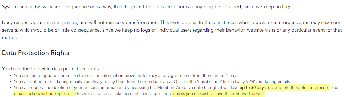 Ivacy privacy policy with payment info
