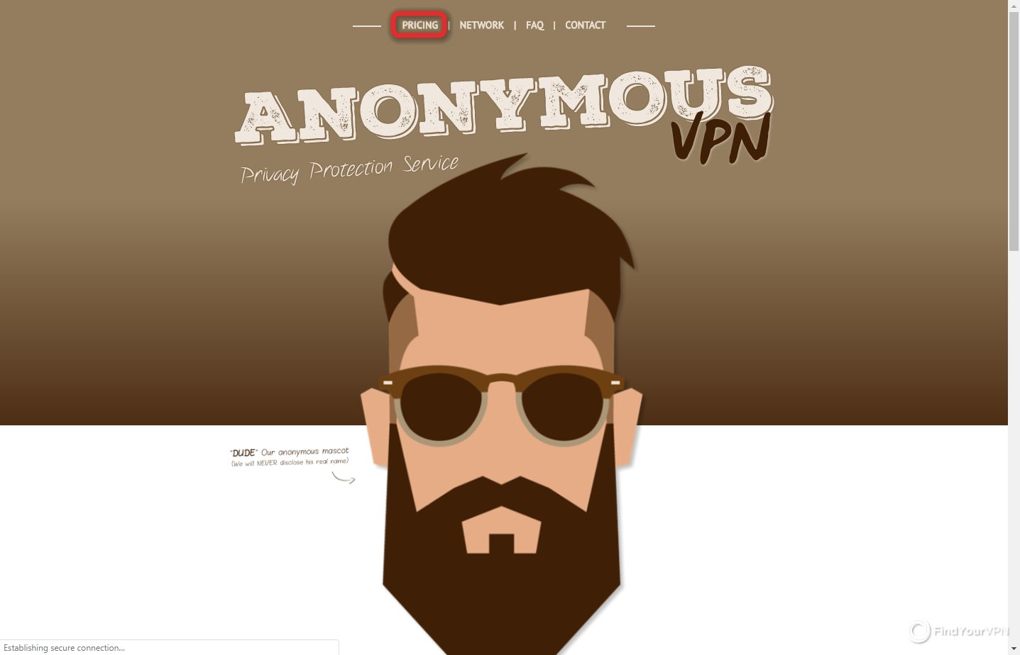 AnonymousVPN landing page