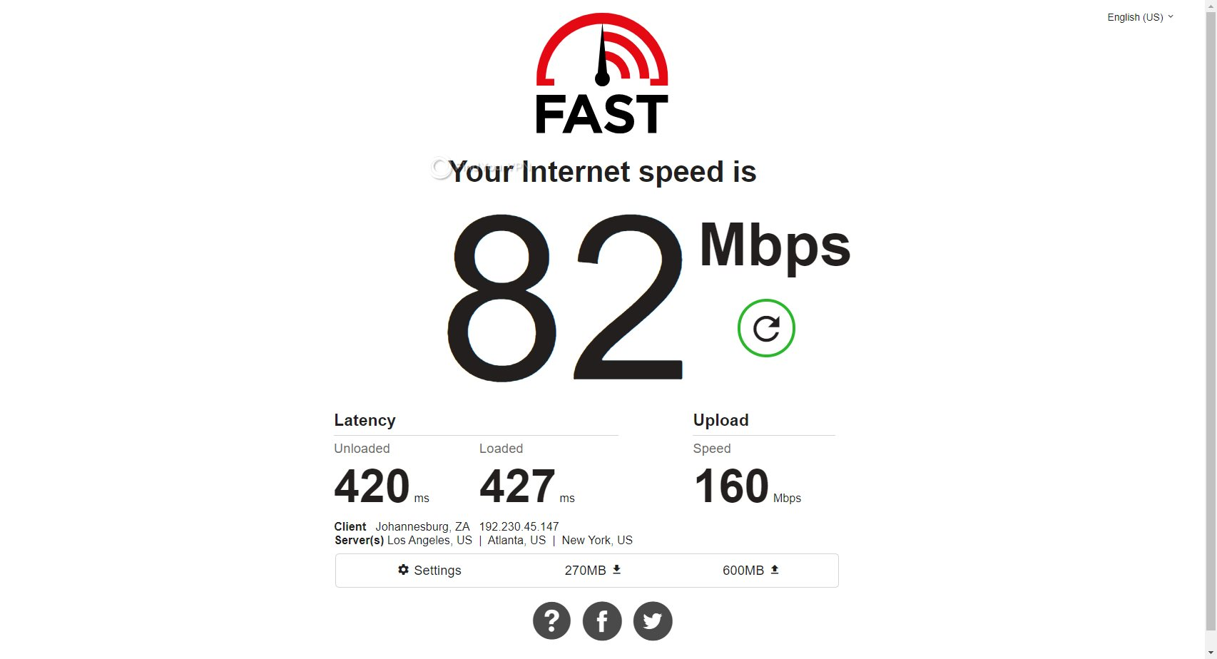 South Africa Mullvad speed test