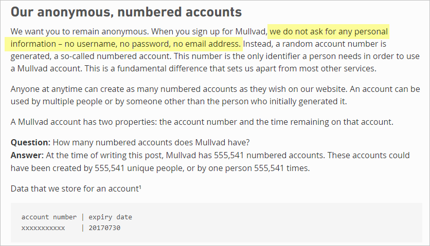 Mullvad VPN privacy policy with numbered accounts