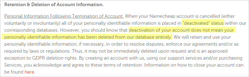 Namecheap VPN privacy policy with data retention
