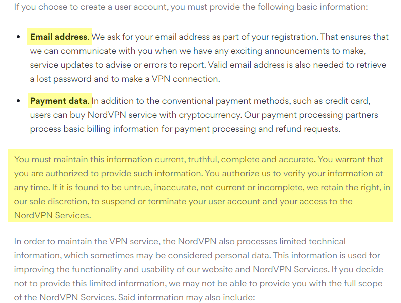 NordVPN privacy policy with basic information