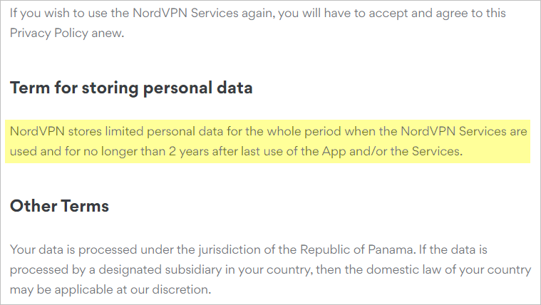 NordVPN privacy policy with terms for storing personal data