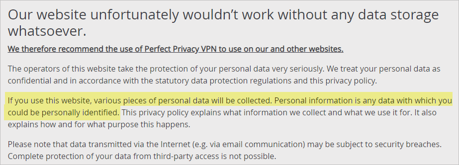 Perfect Privacy VPN privacy policy with personal data