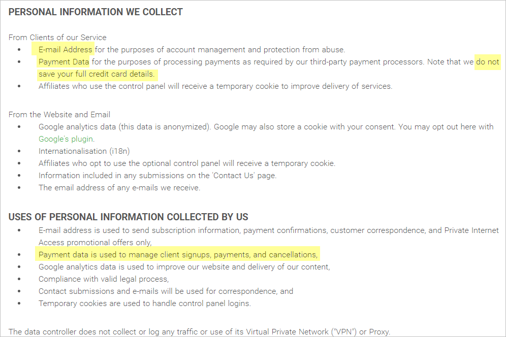 Private Internet Access privacy policy with collected info