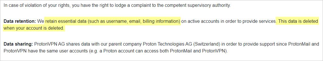 ProtonVPN privacy policy with data retention