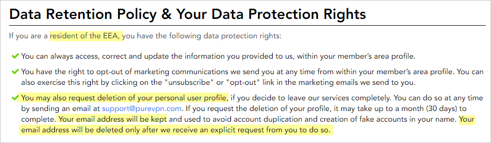 PureVPN privacy policy with data retention