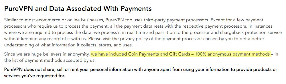 PureVPN privacy policy with payment data