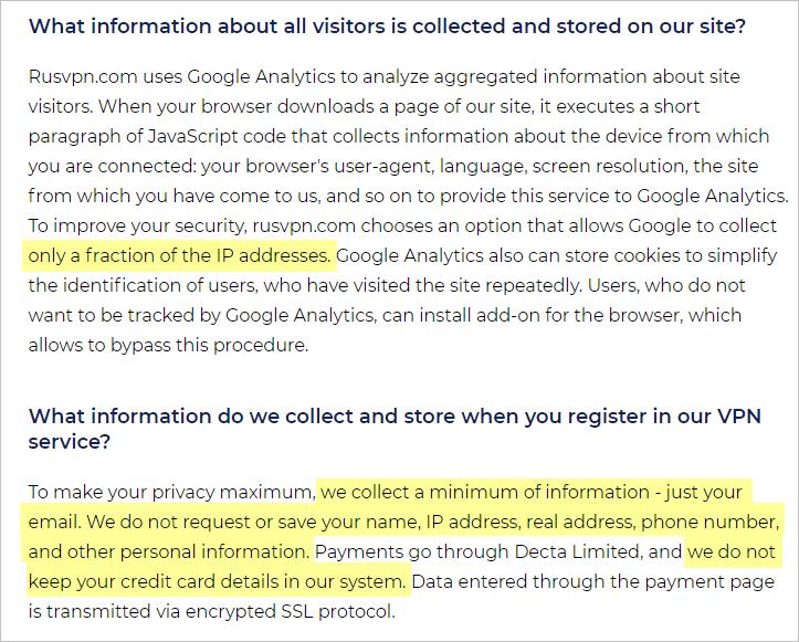 RUSVPN privacy policy