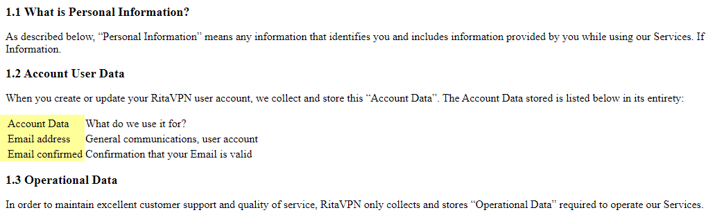 Rita VPN data collected