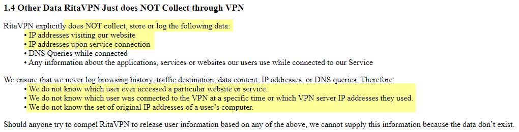 Rita VPN data not collected