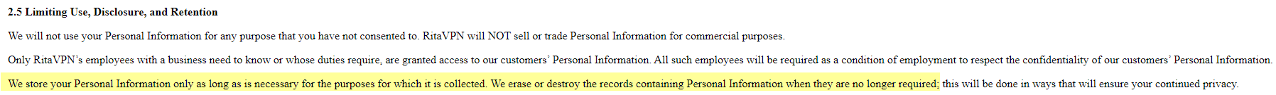 Rita VPN data retention