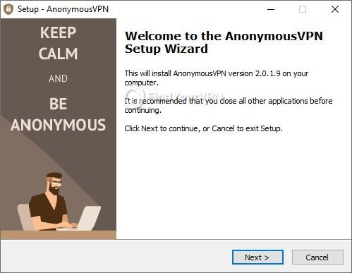 Initial screen of AnonymousVPN