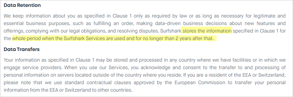 Surfshark privacy policy with data retention