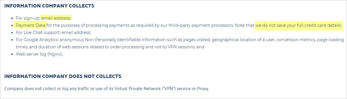 SwitchVPN privacy policy with collected data
