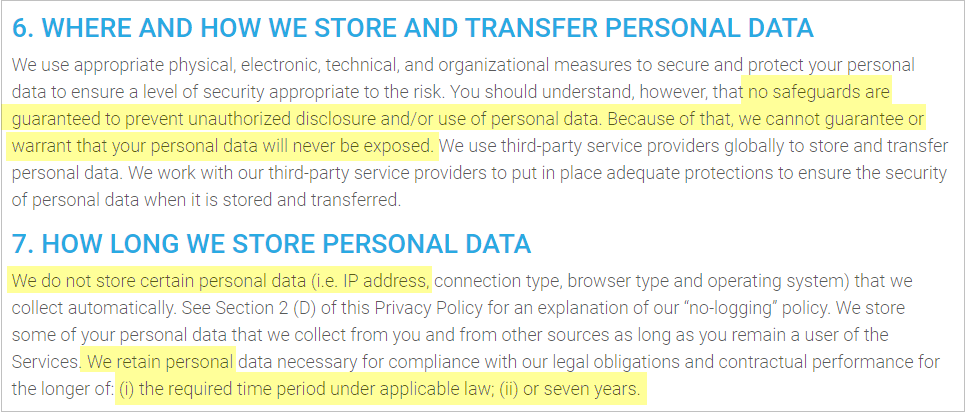 VPN Unlimited privacy policy with data retention