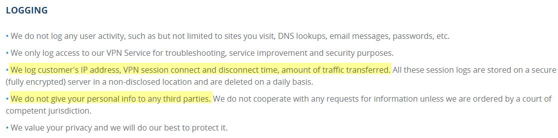 VPN.ac logging policy
