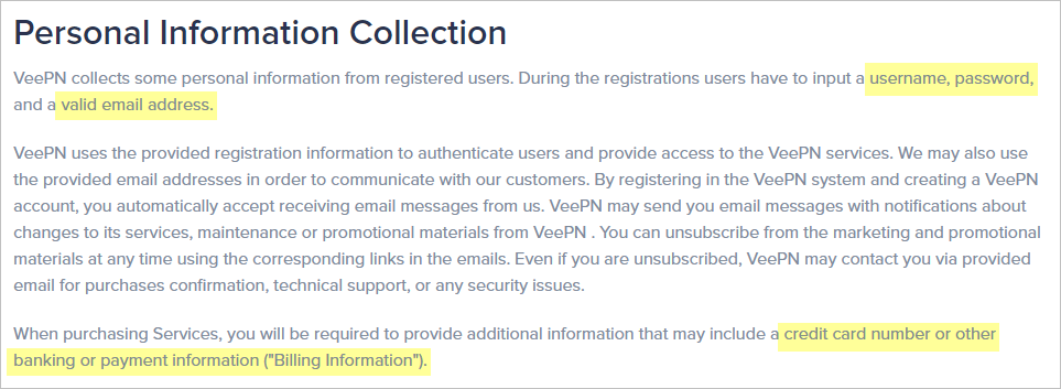 VeePN privacy policy with collected data