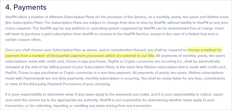 VeePN terms of service with payment data