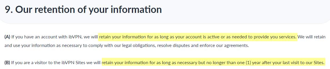 ibVPN data retention