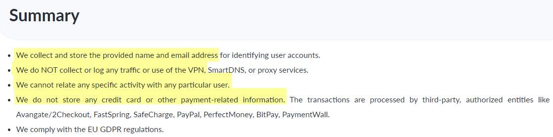 ibVPN privacy policy summary