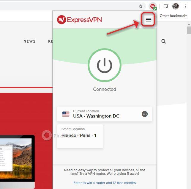 The hamburger button of ExpressVPN Chrome Extension
