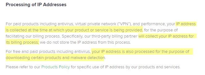 Avast SecureLine IP Address Data