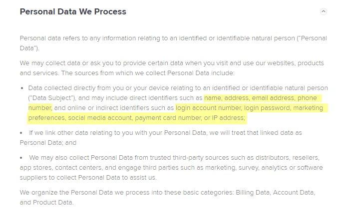 Avast SecureLine Personal Data