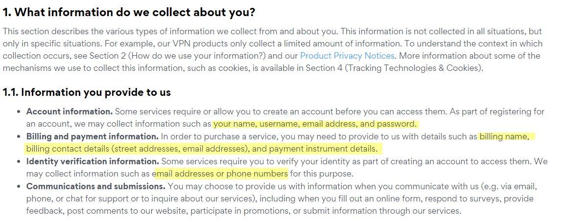 Bitdefender Premium VPN Data Collection