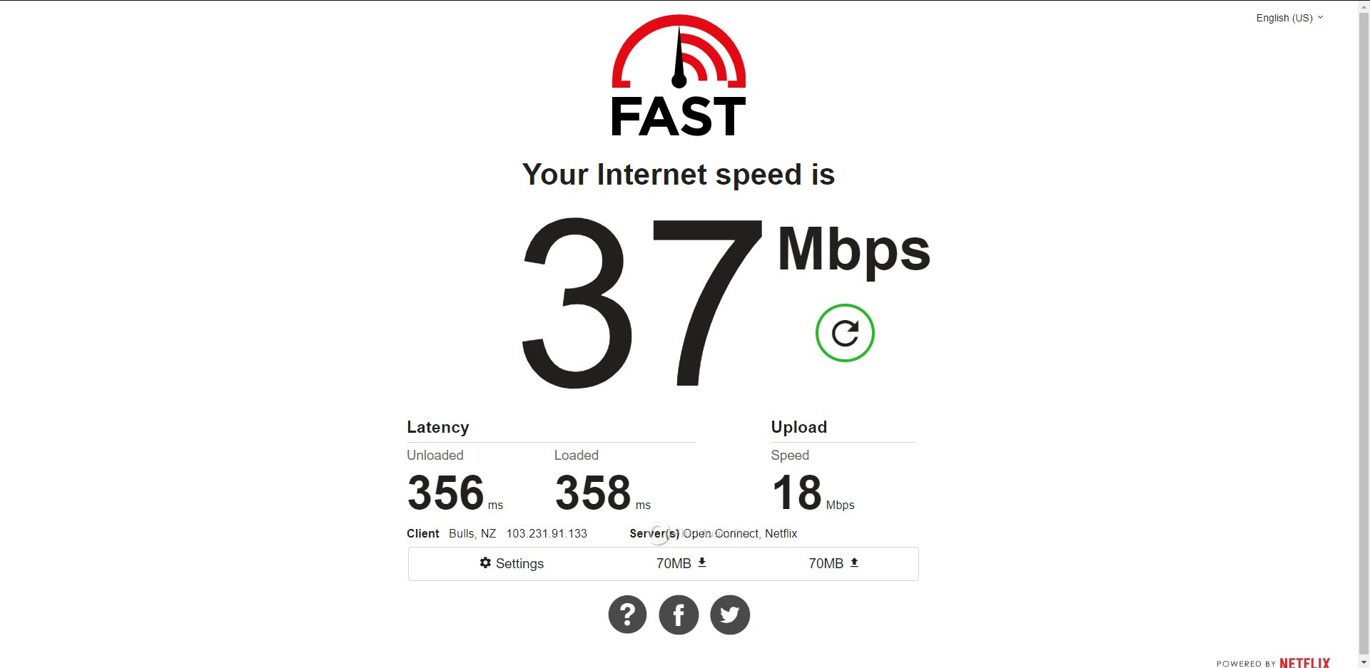 CyberGhost New Zealand Speed Test Results