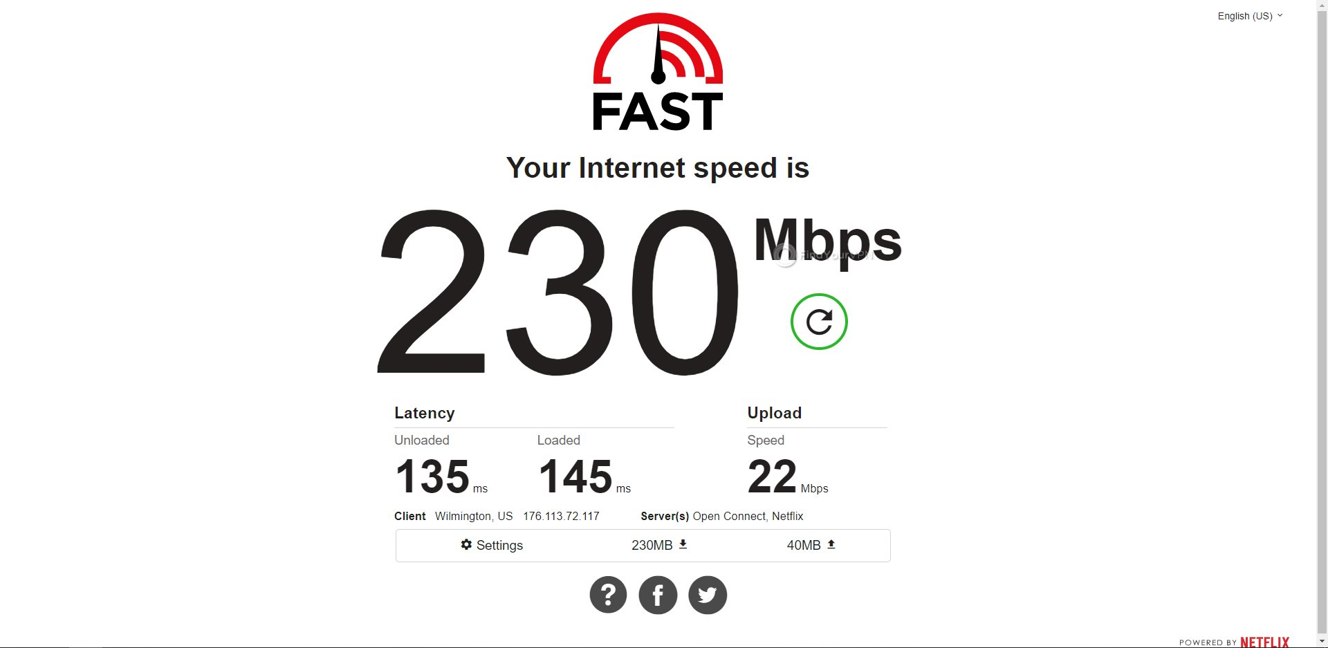 CyberGhost USA Speed Test Results