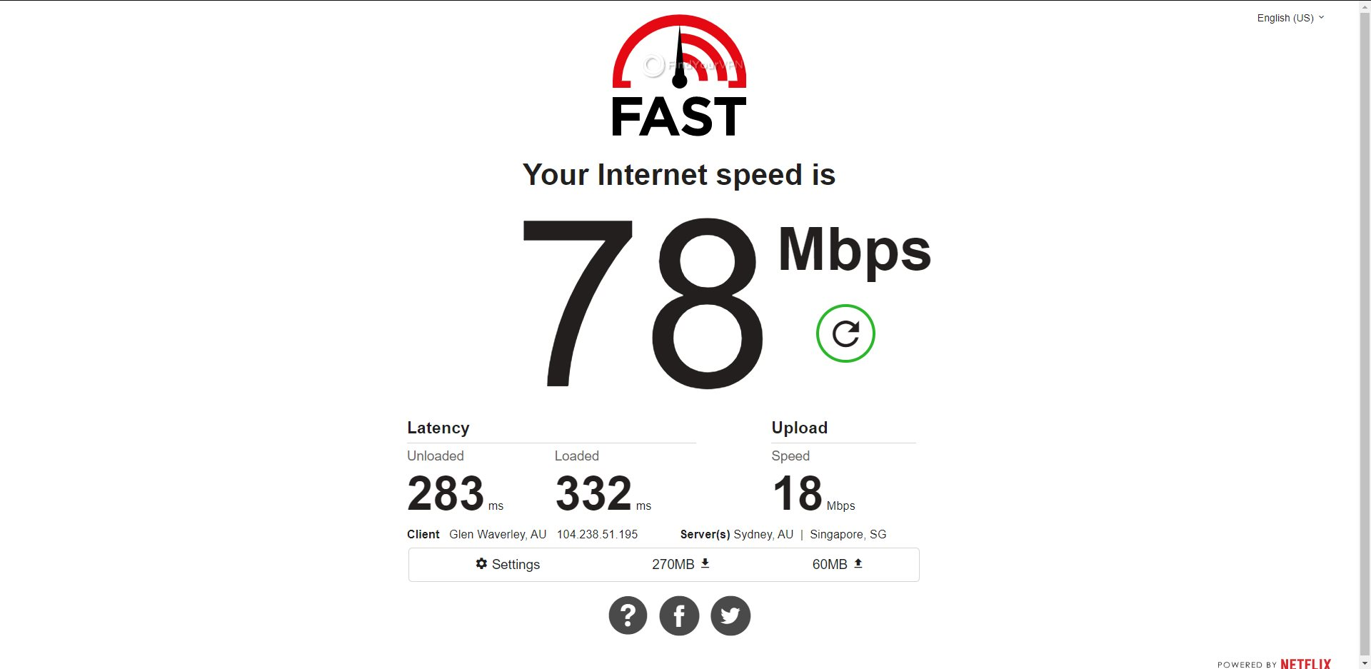 ExpressVPN Australia Speed Test Results