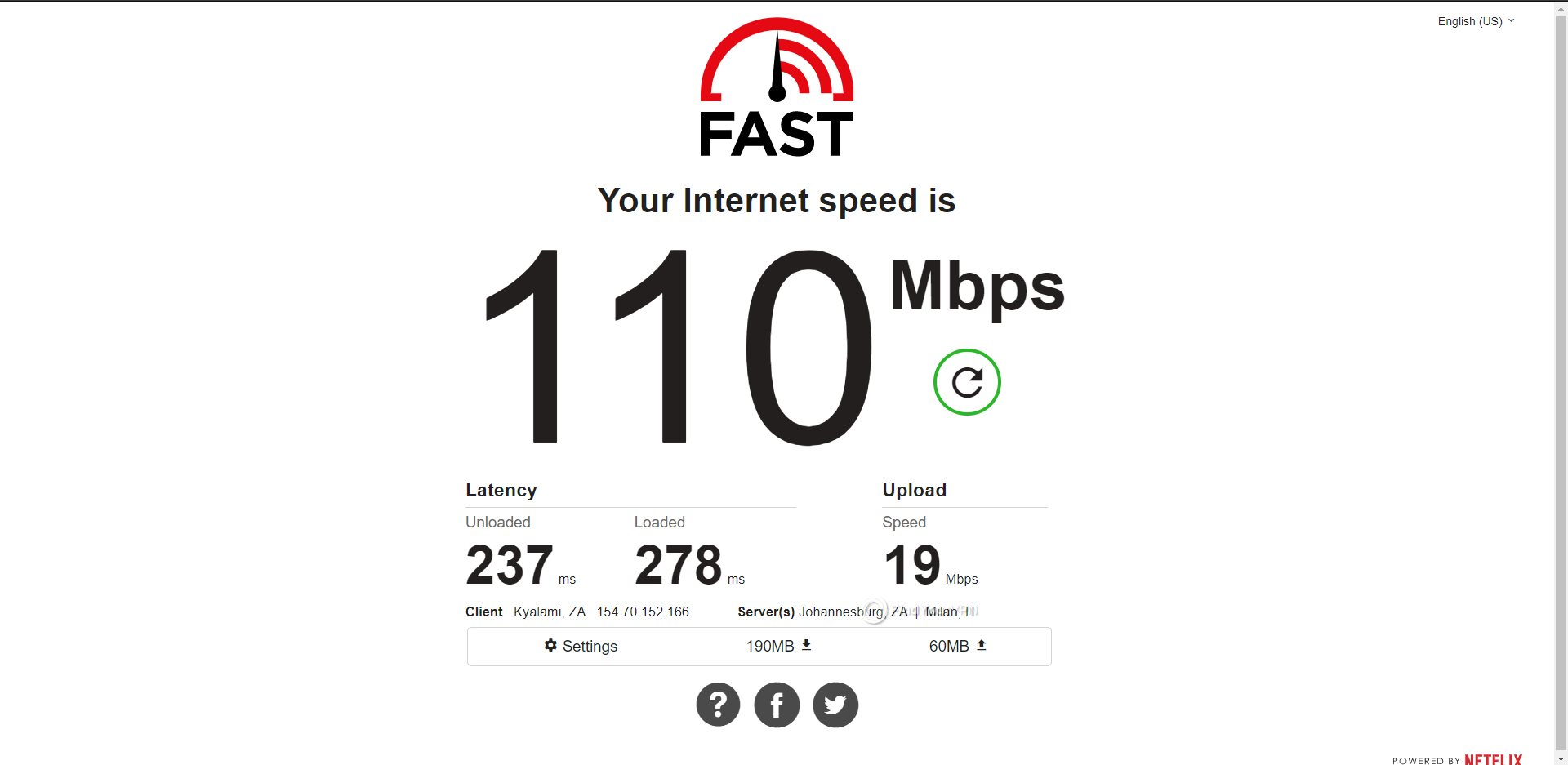 ExpressVPN South Africa Speed Test Results
